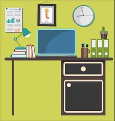 workplace of designer in flat design vector image