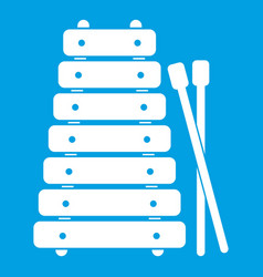 xylophone and sticks icon white vector image