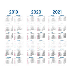 Year 2019 2020 2021 calendar vector