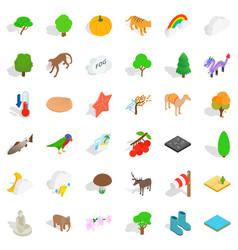 zoo icons set isometric style vector image