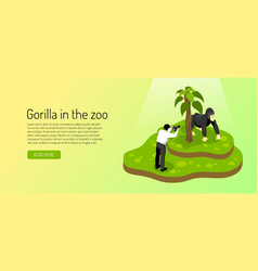 zoo isometric horizontal banner vector image