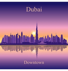 Dubai Downtown silhouette on sunset background vector image vector image