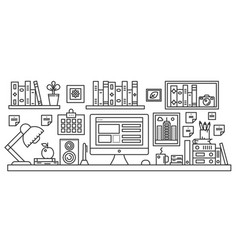 linear office table with computer workspace and vector image vector image
