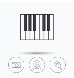 Piano web camera and photo camera icons vector image