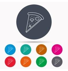 Pizza icon Piece of Italian bake sign vector image
