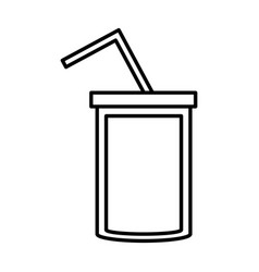 soda cup straw juice outline vector image