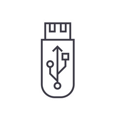 usb flash memory card line icon sign vector image