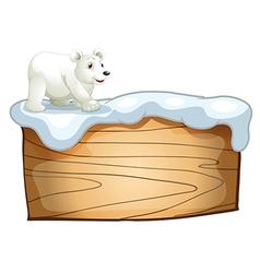 A polar bear above the empty wooden signboard vector image
