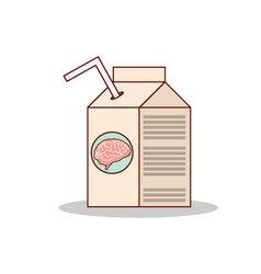 Isolated cartoon drink brain juice on a box vector image vector image