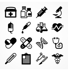 Medical icons on white vector image vector image
