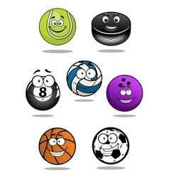Smiling sport equipments cartoon characters vector image vector image