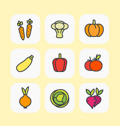 vegetables icons set flat style with outline vector image