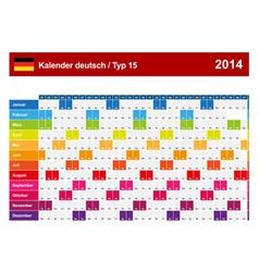 Calendar 2014 German Type 15 vector image