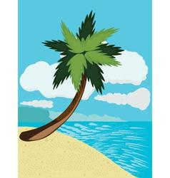 Cartoon beach with palm vector image vector image