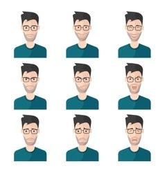 Facial Expression Man Icon Set vector image