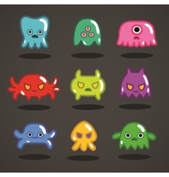 Funny game monsters collection vector image