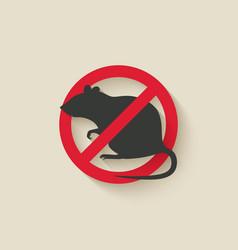 rat warning sign vector image vector image