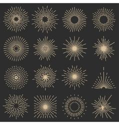 Set of sixteen line light rays vector image vector image