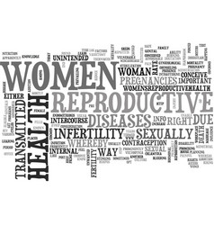 Women reproductive health text word cloud concept vector