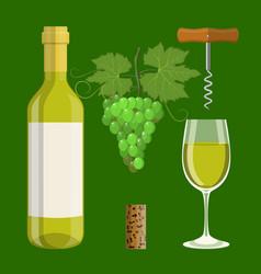 bottle glass cork corkscrew vector image