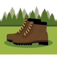 Camping boots shoes isolated icon design vector