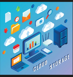 cloud storage flat isometric vector image