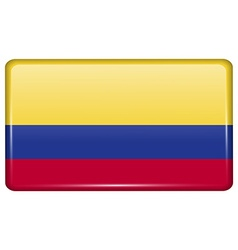 Flags Colombia in the form of a magnet on vector image