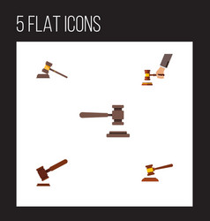 flat icon court set of court hammer crime and vector image