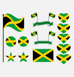 jamaica flag set symbols flag in heart vector image vector image