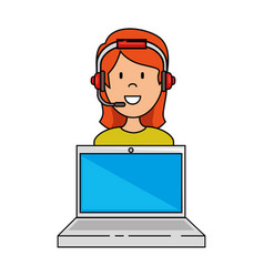 laptop with call center woman agent vector image