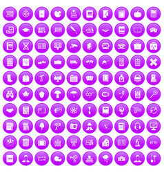 100 book icons set purple vector