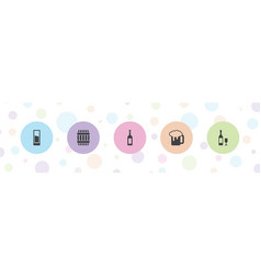 5 alcohol icons vector
