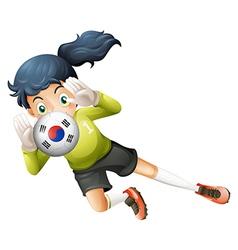 a soccer ball with south korean flag vector image