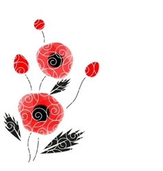 Abstract background with a poppies vector image