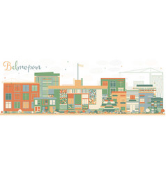 abstract belmopan skyline with color buildings vector image