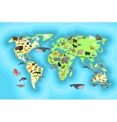 Animals world map wallpaper design vector