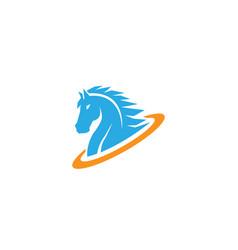 Blue horse circle logo vector