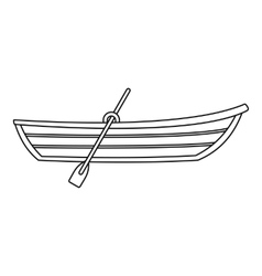 Boat with paddle icon outline style vector