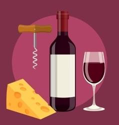 bottle glass of wine cheese and Corkscrew vector image