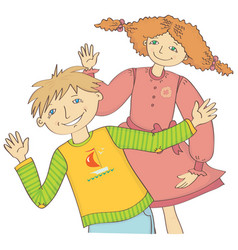 Boy and girl greet waving hand vector