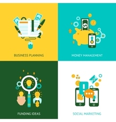Business analysis concept 4 flat icons vector image