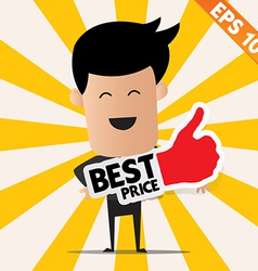 Business man holding Sticker Best tag collection - vector