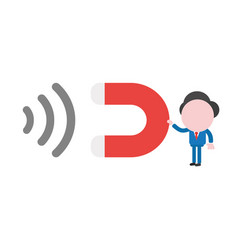 businessman character holding magnet and vector image