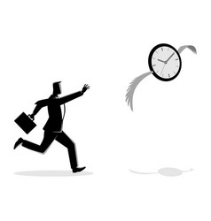 Businessman chasing a flying clock vector