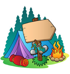 Camping wooden sign near tent vector