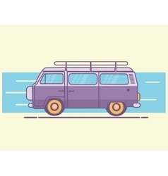 Car van line art retro vintage vector