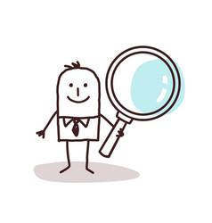 Cartoon man carrying a large magnifying glass vector