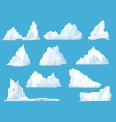 cartoon white floating iceberg icon set vector image