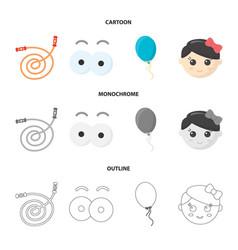 Children toy cartoonoutlinemonochrome icons in vector