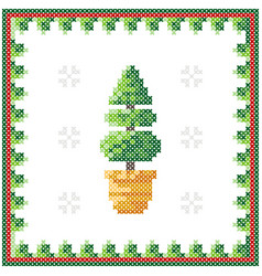 christmas tree pattern scheme for needlework vector image